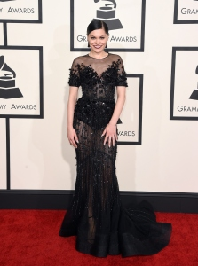 Jessi J in a sheer and sequins black Ralph and Russo gown.