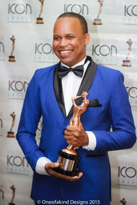 Recorded Entertainment Winner, Kareem Mortimer in Designer Cardell McClam